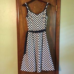 Navy and White Chevron Print Dress